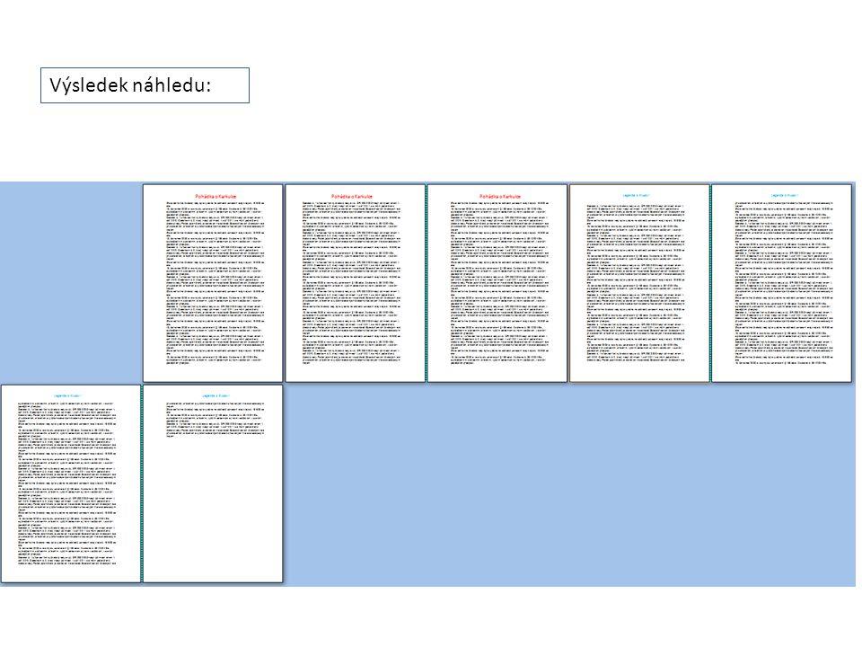 Úkol: Vytvořte podle návodu dokument s různým záhlavím na prvních dvou a následujících třech stránkách.