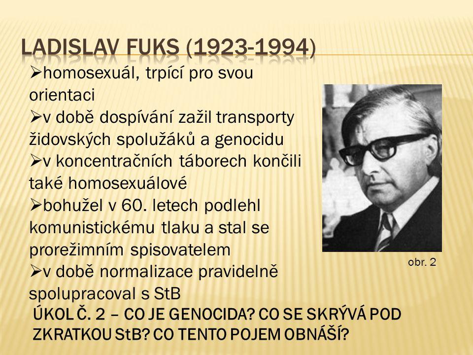 obr. 2  homosexuál, trpící pro svou orientaci  v době dospívání zažil transporty židovských spolužáků a genocidu  v koncentračních táborech končili