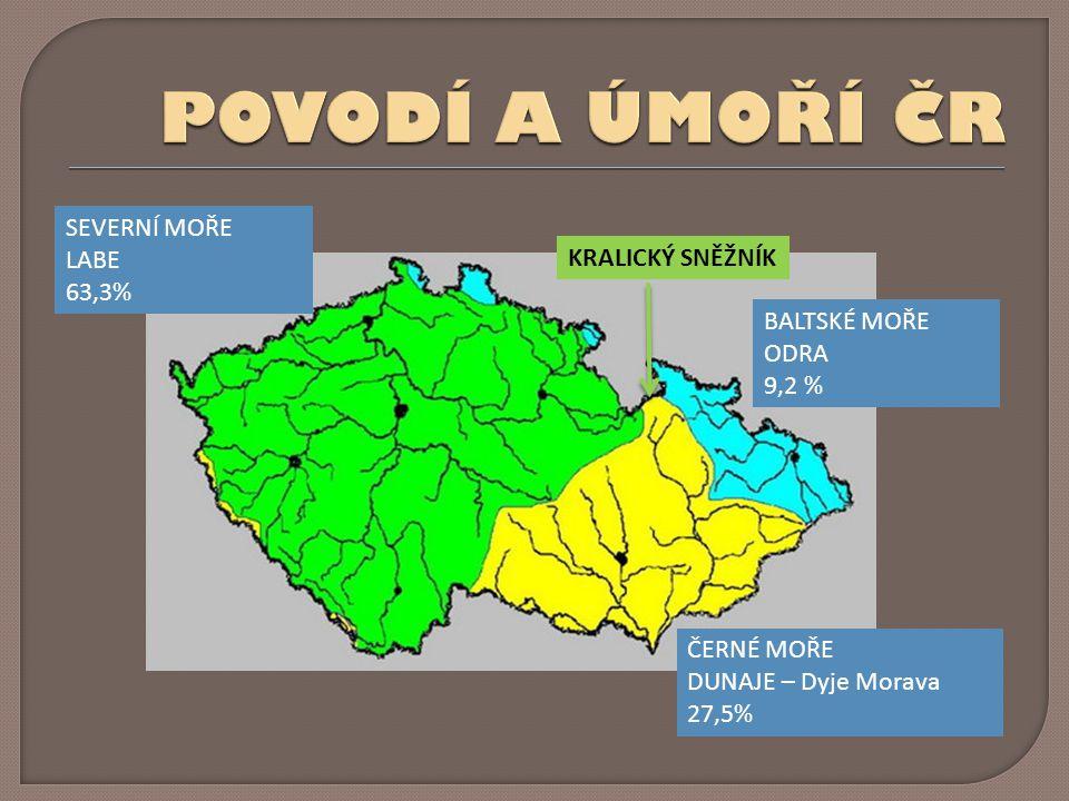 BALTSKÉ MOŘE ODRA 9,2 % ČERNÉ MOŘE DUNAJE – Dyje Morava 27,5% SEVERNÍ MOŘE LABE 63,3% KRALICKÝ SNĚŽNÍK