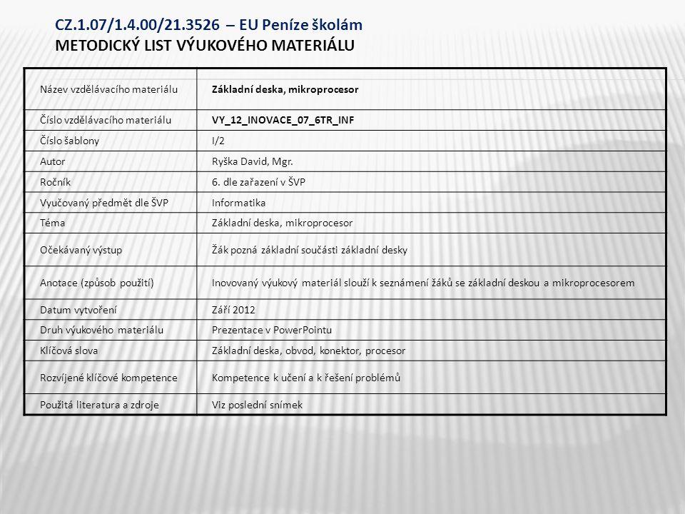 Název vzdělávacího materiáluZákladní deska, mikroprocesor Číslo vzdělávacího materiáluVY_12_INOVACE_07_6TR_INF Číslo šablonyI/2 AutorRyška David, Mgr.