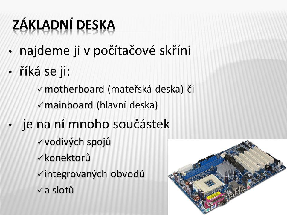 najdeme ji v počítačové skříni říká se ji: motherboard motherboard (mateřská deska) či mainboard mainboard (hlavní deska) je na ní mnoho součástek vodivých spojů vodivých spojů konektorů konektorů integrovaných obvodů integrovaných obvodů a slotů a slotů