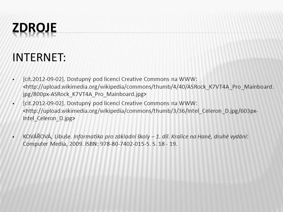 INTERNET:  [cit.2012-09-02]. Dostupný pod licencí Creative Commons na WWW:  KOVÁŘOVÁ, Libuše.