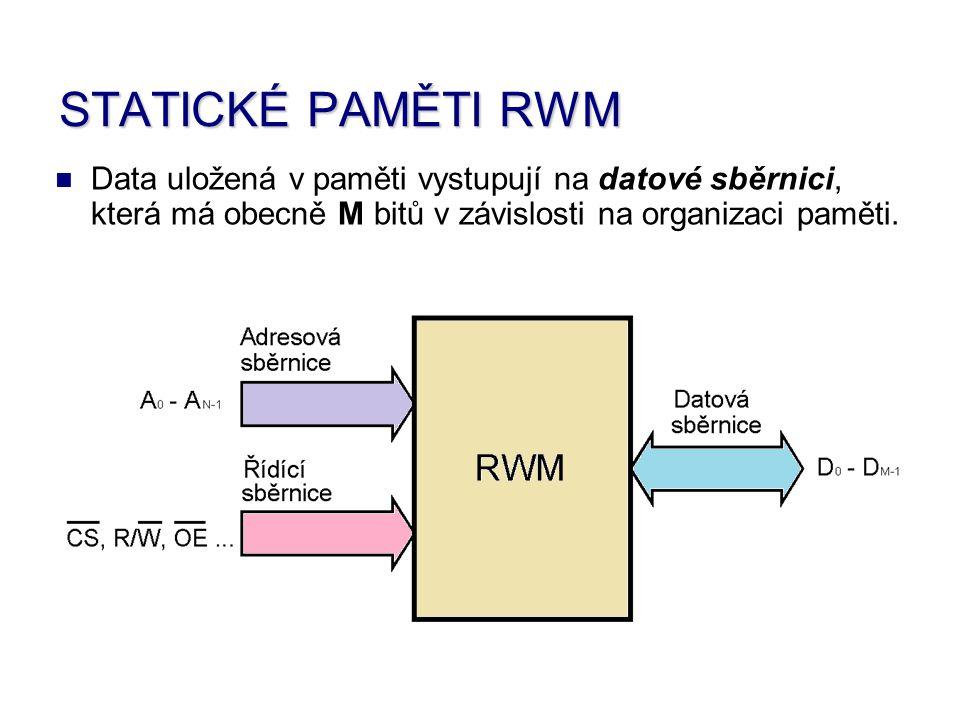 Data uložená v paměti vystupují na datové sběrnici, která má obecně M bitů v závislosti na organizaci paměti.