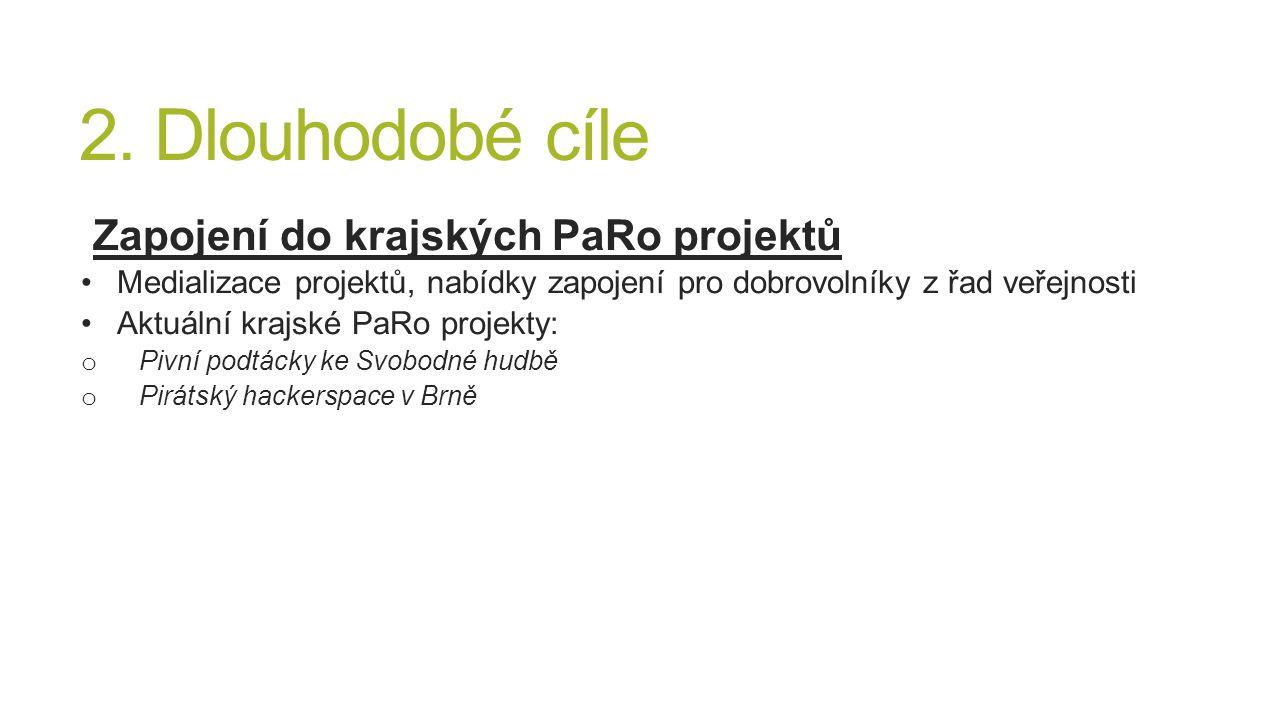 2. Dlouhodobé cíle Zapojení do krajských PaRo projektů Medializace projektů, nabídky zapojení pro dobrovolníky z řad veřejnosti Aktuální krajské PaRo