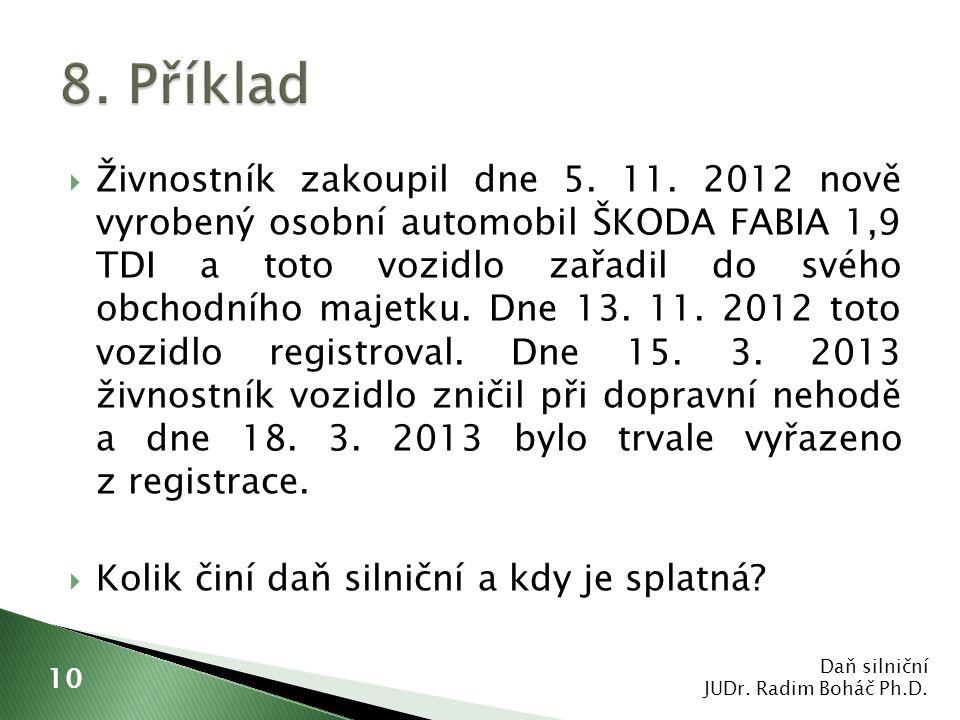  Živnostník zakoupil dne 5. 11. 2012 nově vyrobený osobní automobil ŠKODA FABIA 1,9 TDI a toto vozidlo zařadil do svého obchodního majetku. Dne 13. 1