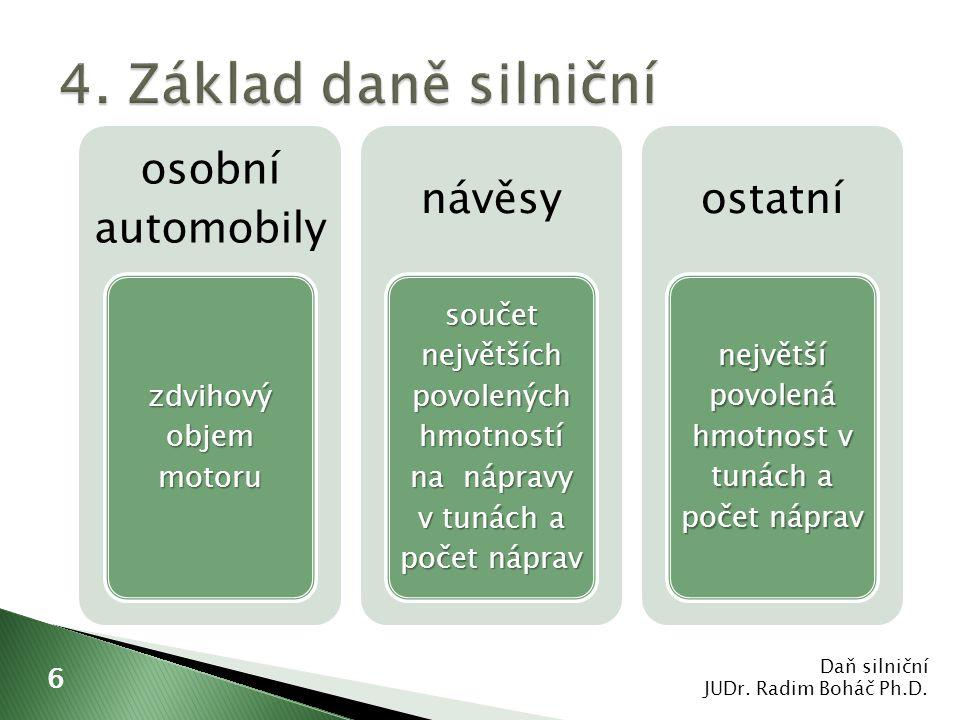  zvýšení sazeb  snížení sazeb  sleva na dani Daň silniční JUDr.