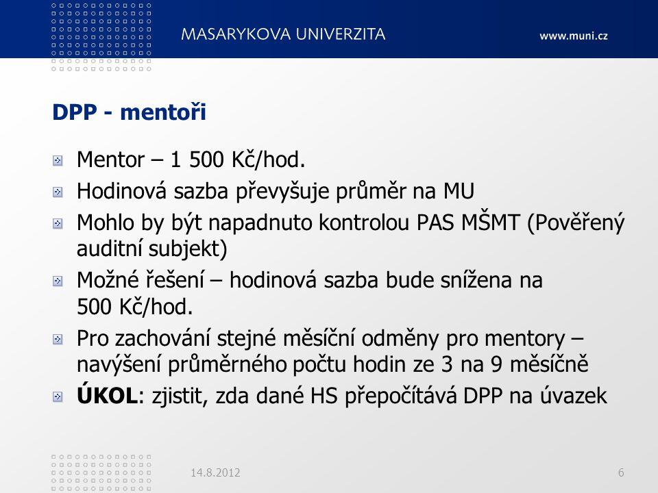 DPP - mentoři Mentor – 1 500 Kč/hod. Hodinová sazba převyšuje průměr na MU Mohlo by být napadnuto kontrolou PAS MŠMT (Pověřený auditní subjekt) Možné