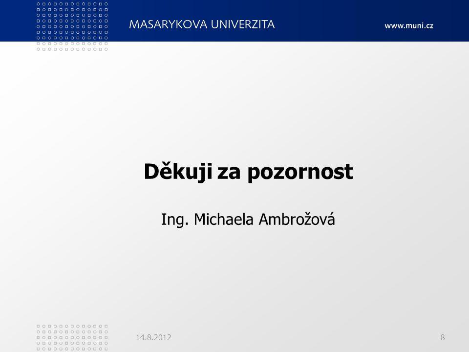 Děkuji za pozornost Ing. Michaela Ambrožová 14.8.20128