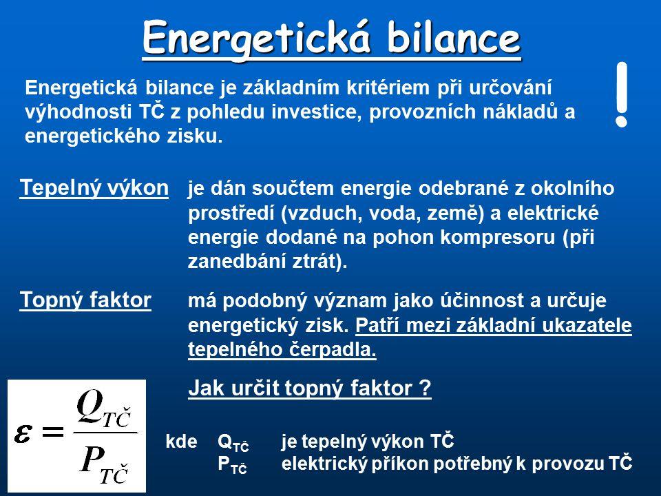 Energetická bilance Energetická bilance je základním kritériem při určování výhodnosti TČ z pohledu investice, provozních nákladů a energetického zisk