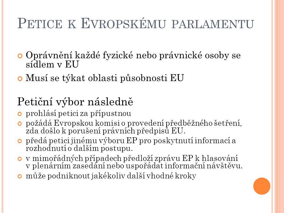 P ETICE K E VROPSKÉMU PARLAMENTU Oprávnění každé fyzické nebo právnické osoby se sídlem v EU Musí se týkat oblasti působnosti EU Petiční výbor následně prohlásí petici za přípustnou požádá Evropskou komisi o provedení předběžného šetření, zda došlo k porušení právních předpisů EU.