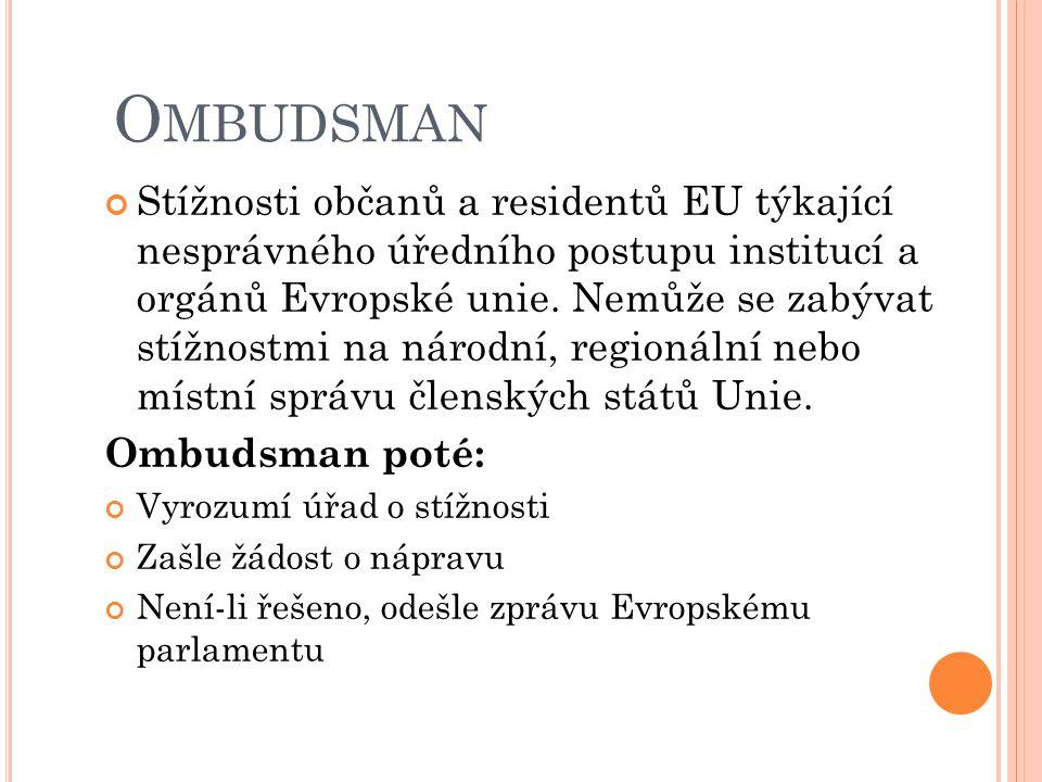 O MBUDSMAN Stížnosti občanů a residentů EU týkající nesprávného úředního postupu institucí a orgánů Evropské unie.