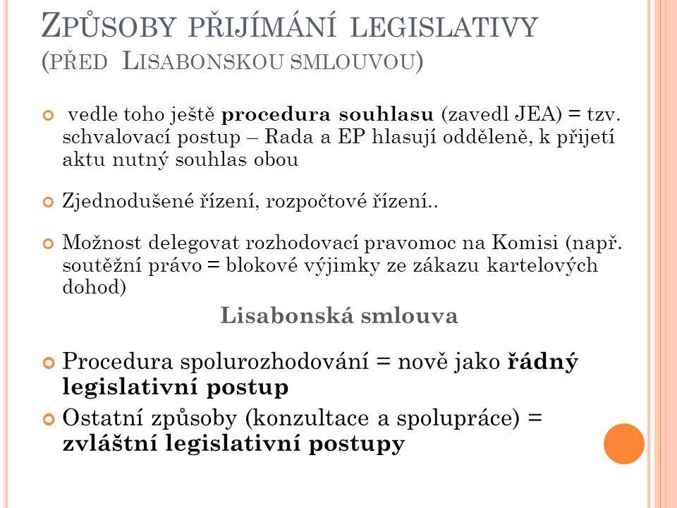 Z PŮSOBY PŘIJÍMÁNÍ LEGISLATIVY ( PŘED L ISABONSKOU SMLOUVOU ) vedle toho ještě procedura souhlasu (zavedl JEA) = tzv.