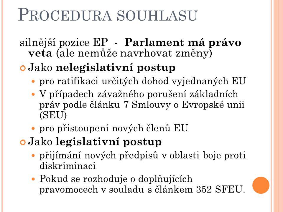 P ROCEDURA SOUHLASU silnější pozice EP - Parlament má právo veta (ale nemůže navrhovat změny) Jako nelegislativní postup pro ratifikaci určitých dohod vyjednaných EU V případech závažného porušení základních práv podle článku 7 Smlouvy o Evropské unii (SEU) pro přistoupení nových členů EU Jako legislativní postup přijímání nových předpisů v oblasti boje proti diskriminaci Pokud se rozhoduje o doplňujících pravomocech v souladu s článkem 352 SFEU.