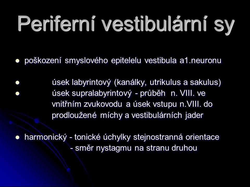 Periferní vestibulární sy poškození smyslového epitelelu vestibula a1.neuronu poškození smyslového epitelelu vestibula a1.neuronu úsek labyrintový (kanálky, utrikulus a sakulus) úsek labyrintový (kanálky, utrikulus a sakulus) úsek supralabyrintový - průběh n.