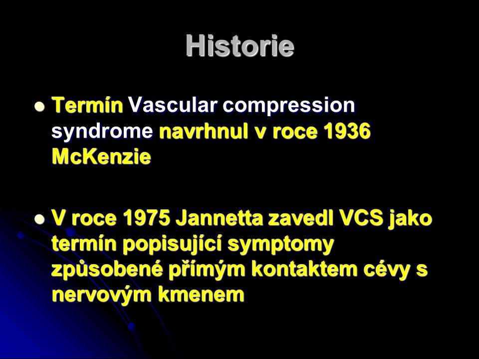 Historie Termín Vascular compression syndrome navrhnul v roce 1936 McKenzie Termín Vascular compression syndrome navrhnul v roce 1936 McKenzie V roce 1975 Jannetta zavedl VCS jako termín popisující symptomy způsobené přímým kontaktem cévy s nervovým kmenem V roce 1975 Jannetta zavedl VCS jako termín popisující symptomy způsobené přímým kontaktem cévy s nervovým kmenem