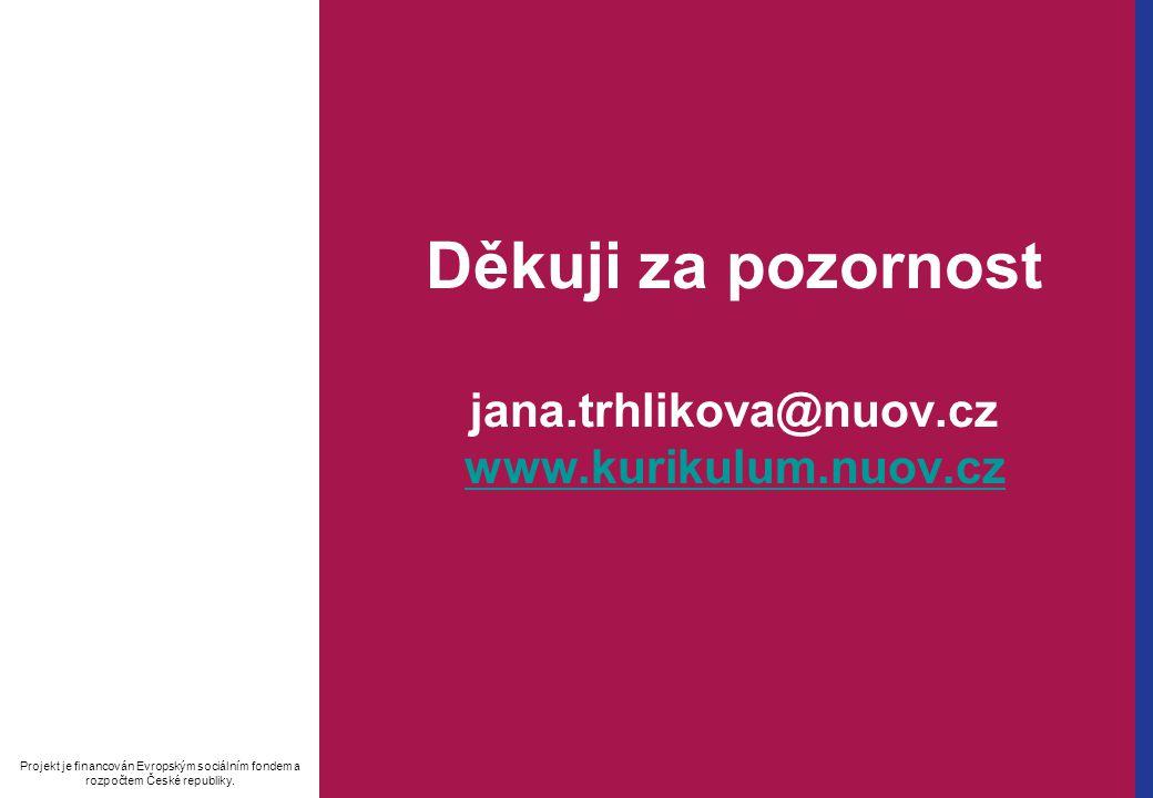 Děkuji za pozornost jana.trhlikova@nuov.cz www.kurikulum.nuov.cz www.kurikulum.nuov.cz Projekt je financován Evropským sociálním fondem a rozpočtem České republiky.