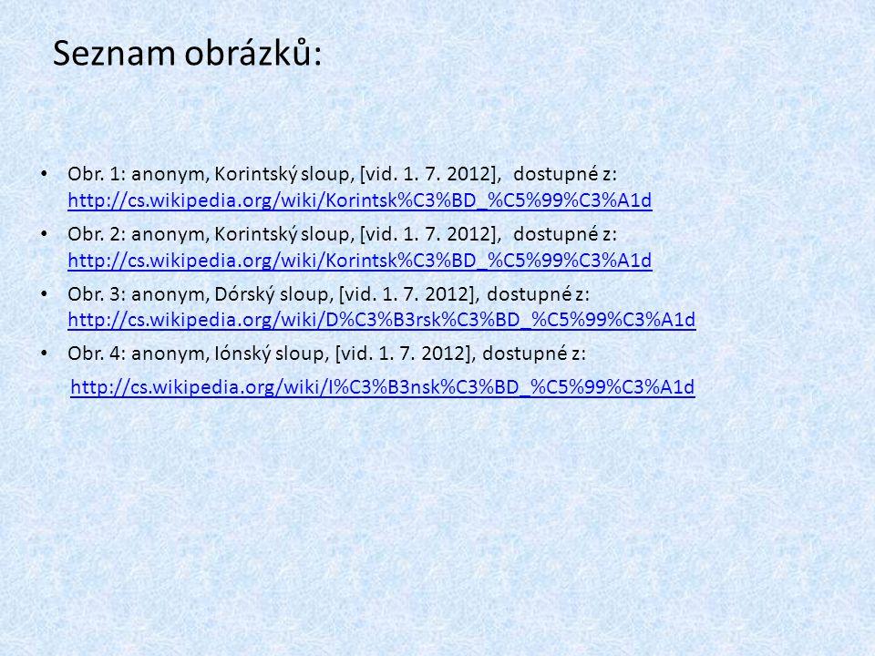 Seznam obrázků: Obr. 1: anonym, Korintský sloup, [vid. 1. 7. 2012], dostupné z: http://cs.wikipedia.org/wiki/Korintsk%C3%BD_%C5%99%C3%A1d http://cs.wi