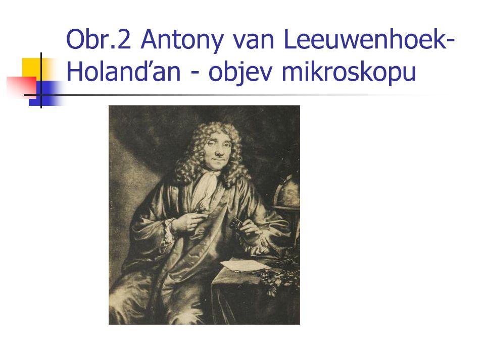 Obr.2 Antony van Leeuwenhoek- Holanďan - objev mikroskopu