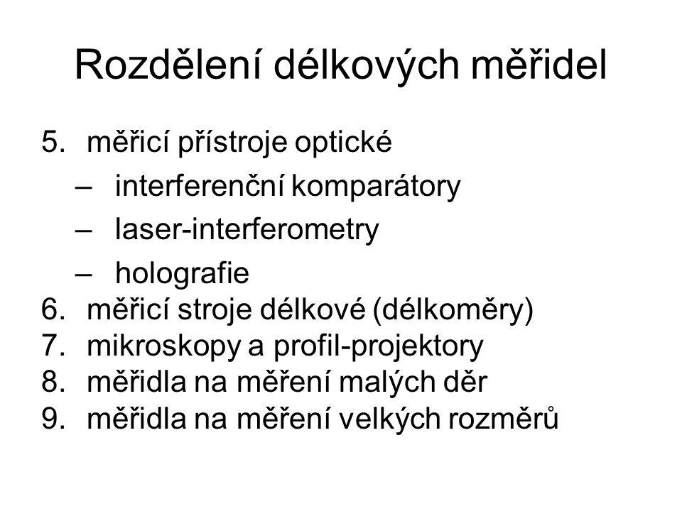 Rozdělení délkových měřidel 5.měřicí přístroje optické –interferenční komparátory –laser-interferometry –holografie 6.měřicí stroje délkové (délkoměry