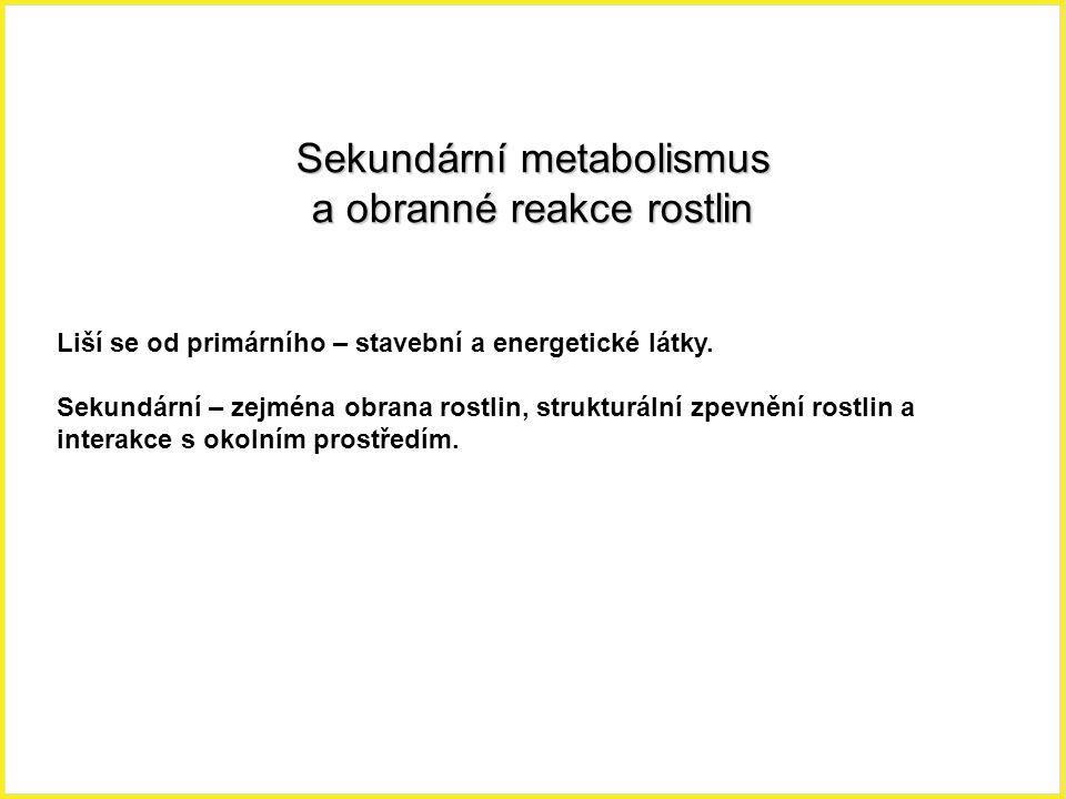 Sekundární metabolismus a obranné reakce rostlin Liší se od primárního – stavební a energetické látky. Sekundární – zejména obrana rostlin, strukturál