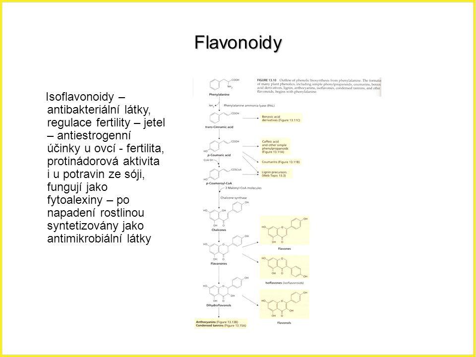 Flavonoidy Isoflavonoidy – antibakteriální látky, regulace fertility – jetel – antiestrogenní účinky u ovcí - fertilita, protinádorová aktivita i u po