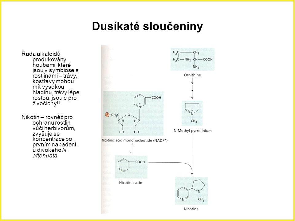 Dusíkaté sloučeniny Řada alkaloidů produkovány houbami, které jsou v symbiose s rostlinami – trávy, kostřavy mohou mít vysokou hladinu, trávy lépe ros