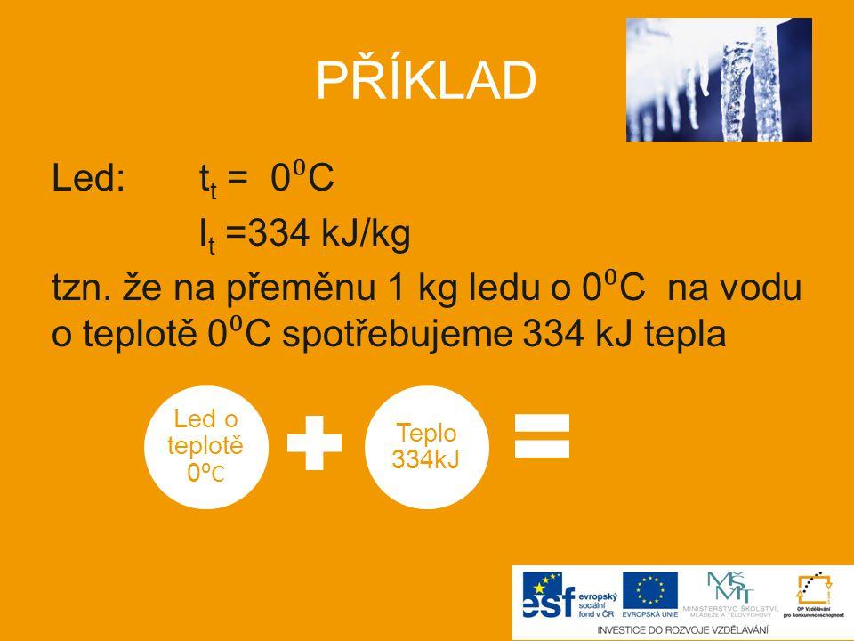 Led: t t = 0 ⁰ C l t =334 kJ/kg tzn.