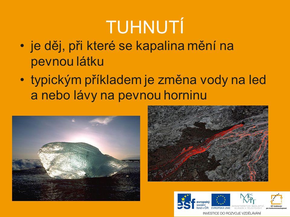 TUHNUTÍ je děj, při které se kapalina mění na pevnou látku typickým příkladem je změna vody na led a nebo lávy na pevnou horninu