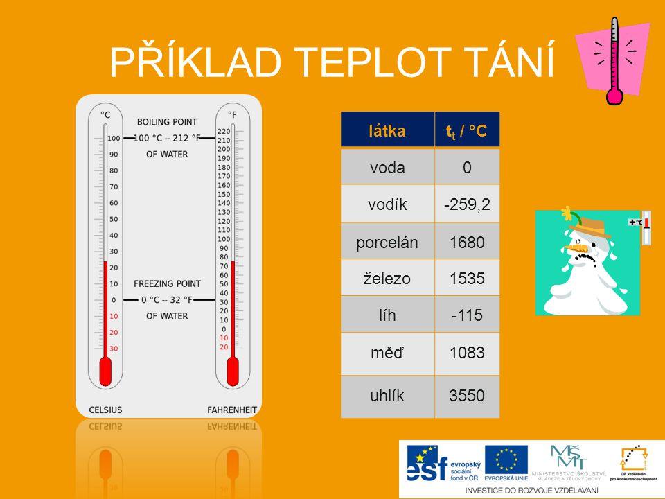 PŘÍKLAD TEPLOT TÁNÍ látkat t / °C voda0 vodík-259,2 porcelán1680 železo1535 líh-115 měď1083 uhlík3550