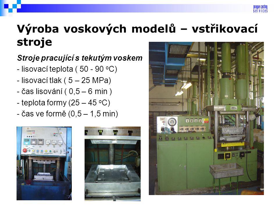 Výroba voskových modelů – způsob výroby Gravitační lití modelů Je používáno už jen velice zřídka a to většinou při výrobě pomocných modelů jako jsou n