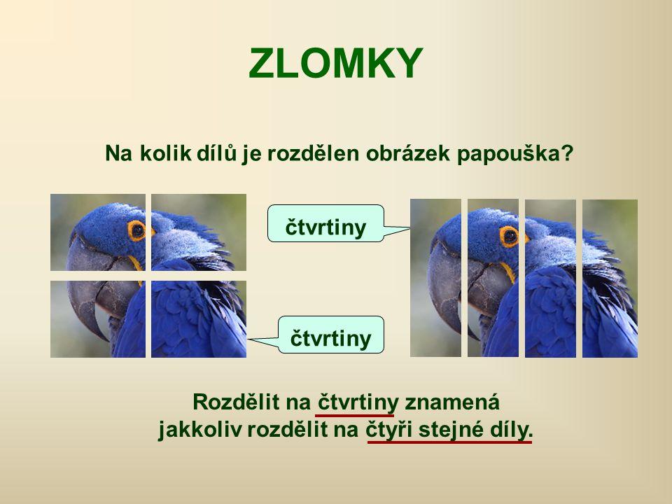 Rozdělit na čtvrtiny znamená jakkoliv rozdělit na čtyři stejné díly. ZLOMKY čtvrtiny Na kolik dílů je rozdělen obrázek papouška?