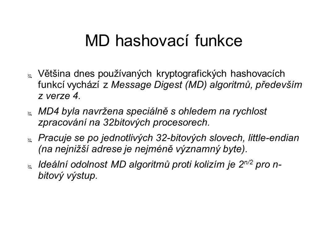 MD hashovací funkce ● Většina dnes používaných kryptografických hashovacích funkcí vychází z Message Digest (MD) algoritmů, především z verze 4. ● MD4