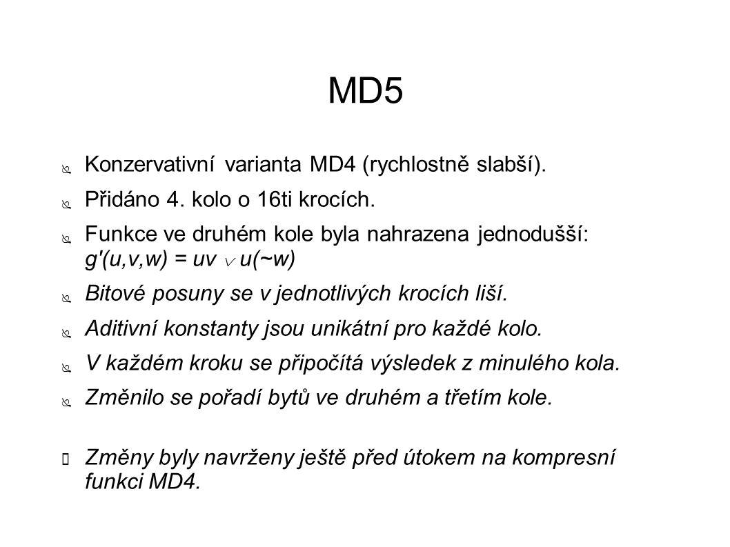 MD5 ● Konzervativní varianta MD4 (rychlostně slabší). ● Přidáno 4. kolo o 16ti krocích. ● Funkce ve druhém kole byla nahrazena jednodušší: g'(u,v,w) =