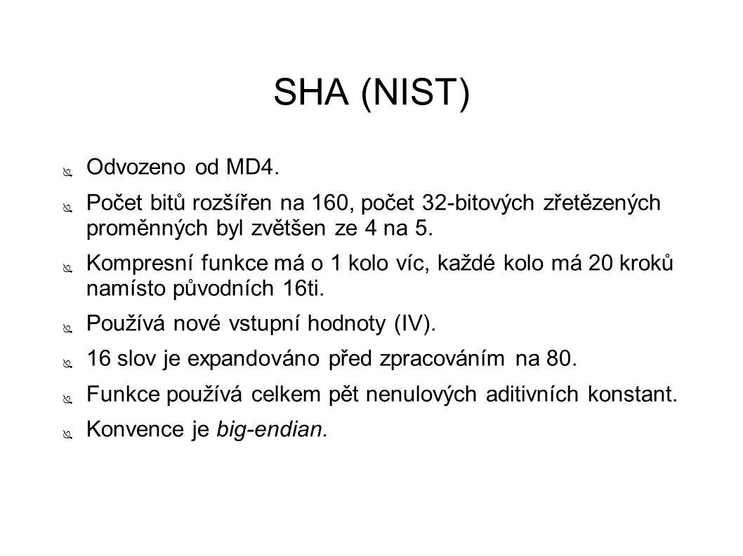 SHA (NIST) ● Odvozeno od MD4. ● Počet bitů rozšířen na 160, počet 32-bitových zřetězených proměnných byl zvětšen ze 4 na 5. ● Kompresní funkce má o 1