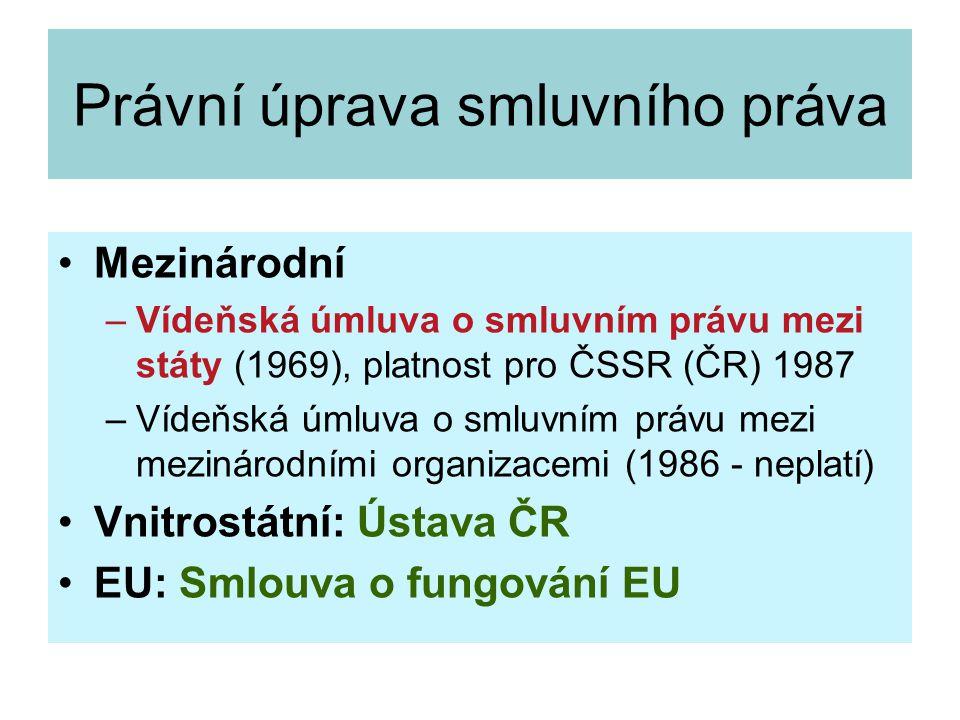 Třídění mezinárodních smluv počet smluvních stran možnost přístupu (mnohostranné) forma úroveň sjednání normativní obsah (kontraktuální, pravotvorné) působnost (inter partes x erga omnes)