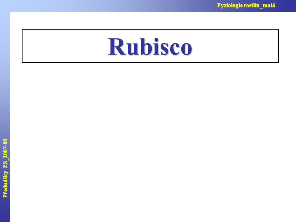 Přednášky ZS_2007-08 Fyziologie rostlin_malá Rubisco