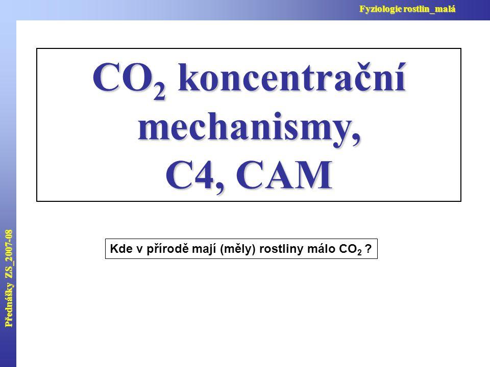 Přednášky ZS_2007-08 Fyziologie rostlin_malá CO 2 koncentrační mechanismy, C4, CAM Kde v přírodě mají (měly) rostliny málo CO 2