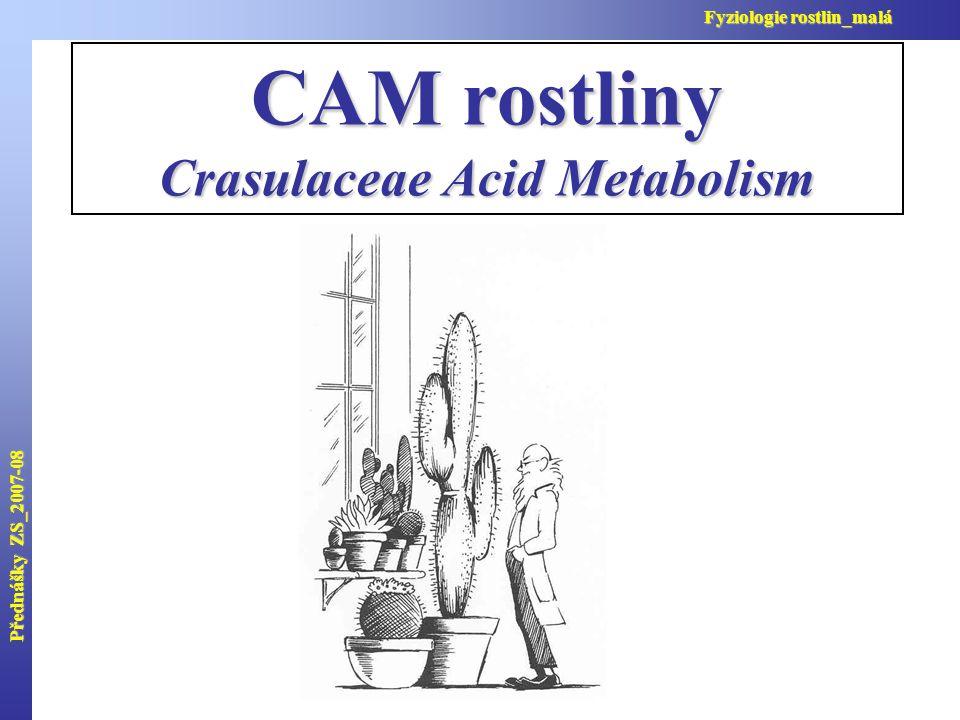 Přednášky ZS_2007-08 Fyziologie rostlin_malá CAM rostliny Crasulaceae Acid Metabolism