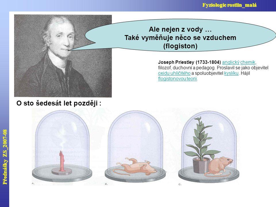 Přednášky ZS_2007-08 Fyziologie rostlin_malá Joseph Priestley (1733-1804) anglický chemik, filozof, duchovní a pedagog.
