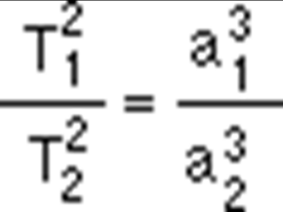Třetí keplerův zákon III. Keplerův zákon vyjadřuje vztah mezi oběžnými dobami planet a délkami hlavních poloos eliptických trajektorií. Poměr druhých