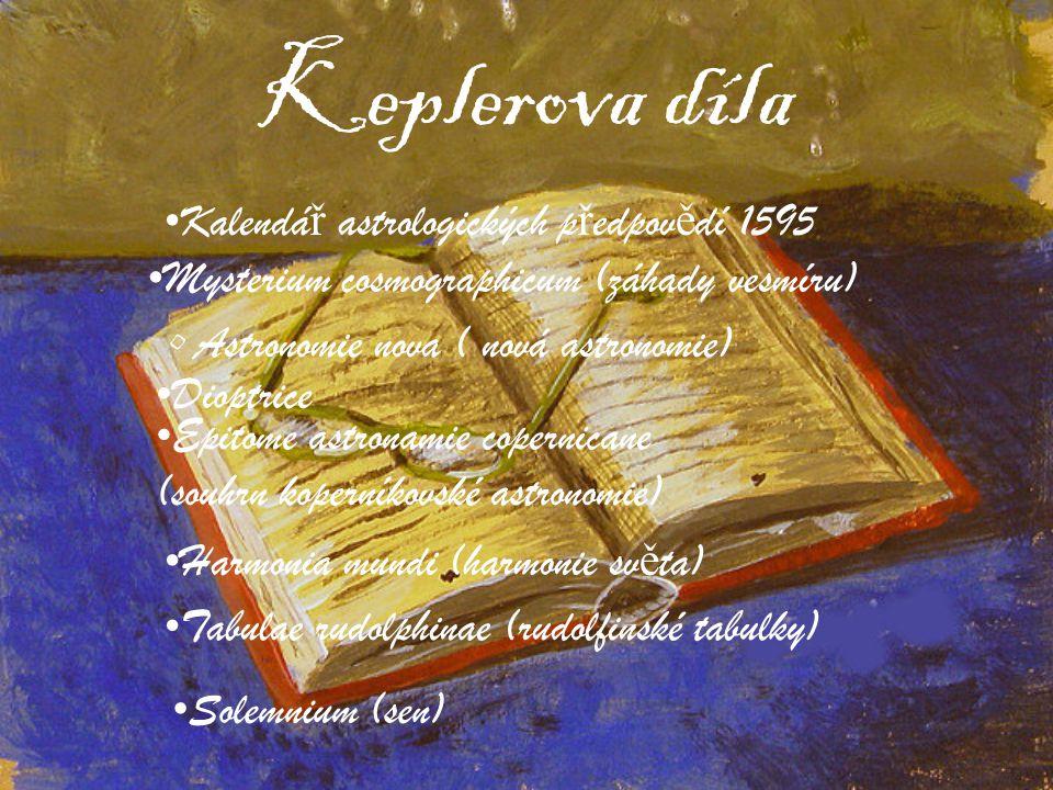 Keplerova díla Kalendá ř astrologických p ř edpov ě dí 1595 Astronomie nova ( nová astronomie) Dioptrice Epitome astronamie copernicane (souhrn kopern
