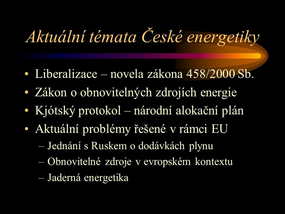 Aktuální témata České energetiky Liberalizace – novela zákona 458/2000 Sb. Zákon o obnovitelných zdrojích energie Kjótský protokol – národní alokační