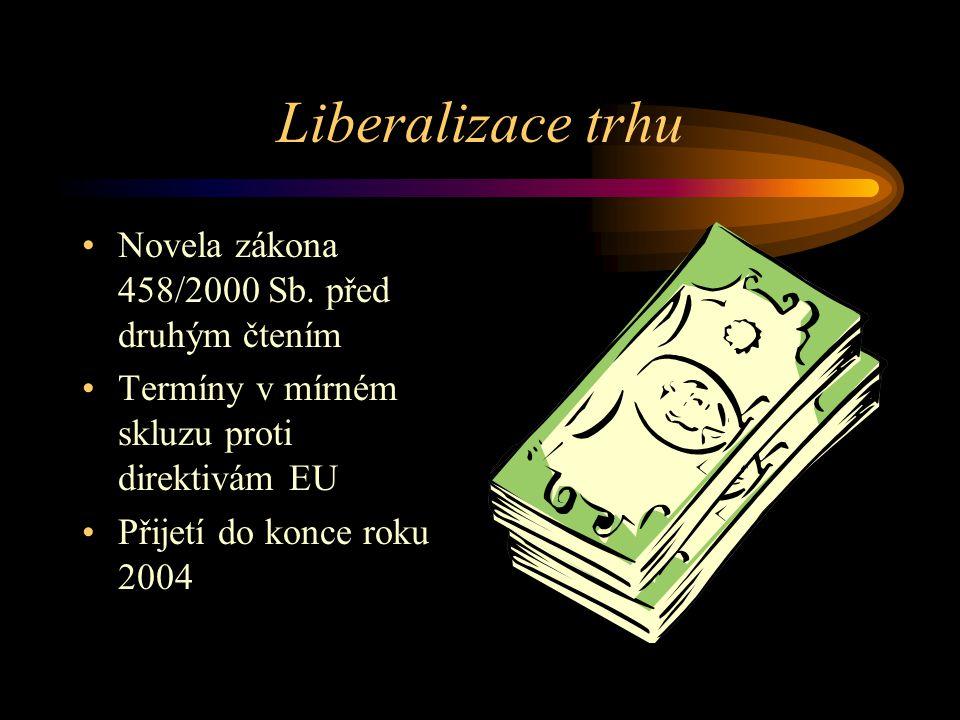 Liberalizace trhu Novela zákona 458/2000 Sb. před druhým čtením Termíny v mírném skluzu proti direktivám EU Přijetí do konce roku 2004