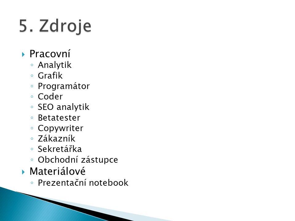  Pracovní ◦ Analytik ◦ Grafik ◦ Programátor ◦ Coder ◦ SEO analytik ◦ Betatester ◦ Copywriter ◦ Zákazník ◦ Sekretářka ◦ Obchodní zástupce  Materiálové ◦ Prezentační notebook