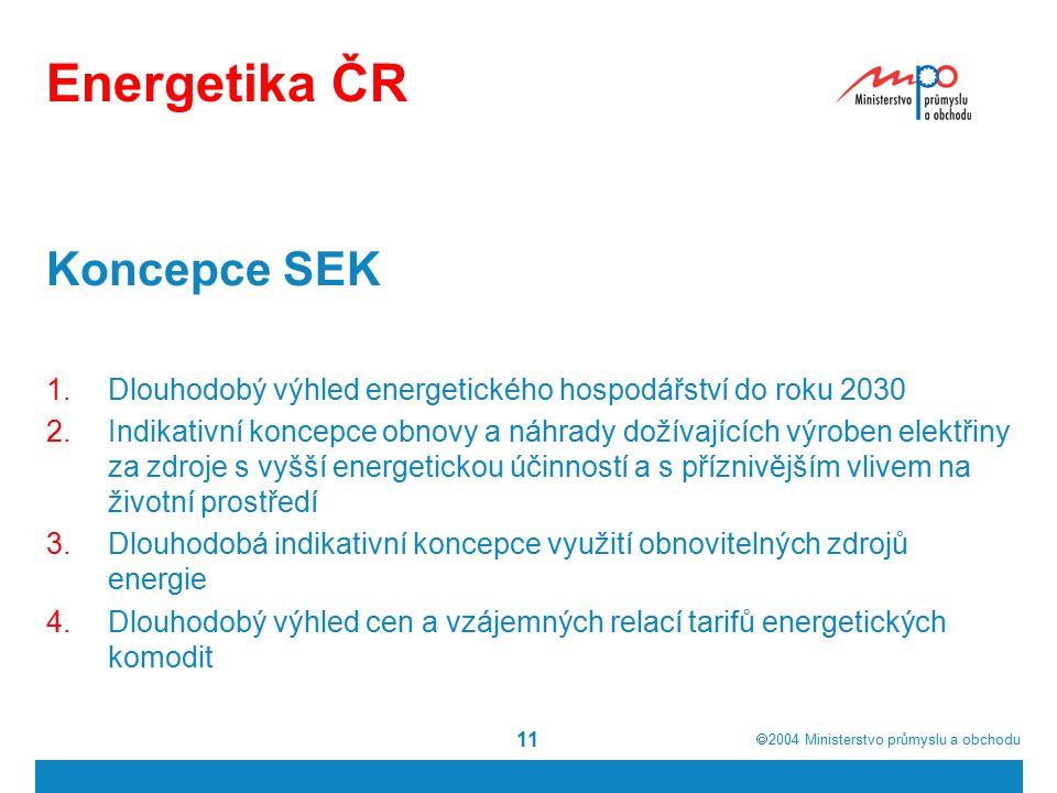  2004  Ministerstvo průmyslu a obchodu 11 Energetika ČR Koncepce SEK 1.Dlouhodobý výhled energetického hospodářství do roku 2030 2.Indikativní koncepce obnovy a náhrady dožívajících výroben elektřiny za zdroje s vyšší energetickou účinností a s příznivějším vlivem na životní prostředí 3.Dlouhodobá indikativní koncepce využití obnovitelných zdrojů energie 4.Dlouhodobý výhled cen a vzájemných relací tarifů energetických komodit