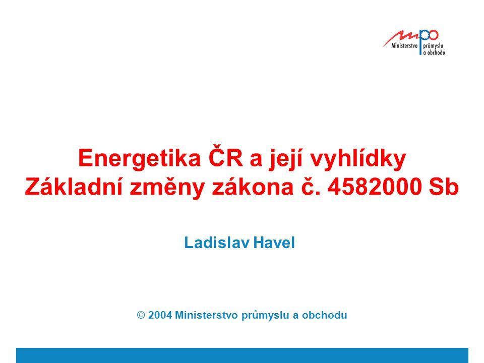  2004  Ministerstvo průmyslu a obchodu 23 Energetika ČR Směrnice 96/92 EC Povinnost veřejné služby (bezpečnost, kvalita, cena, ŽP) Nové kapacity- autorizační přístup - nabídkové řízení Přednost domácím zdrojům (15 %) PDS povinnost dodávat zákazníkům