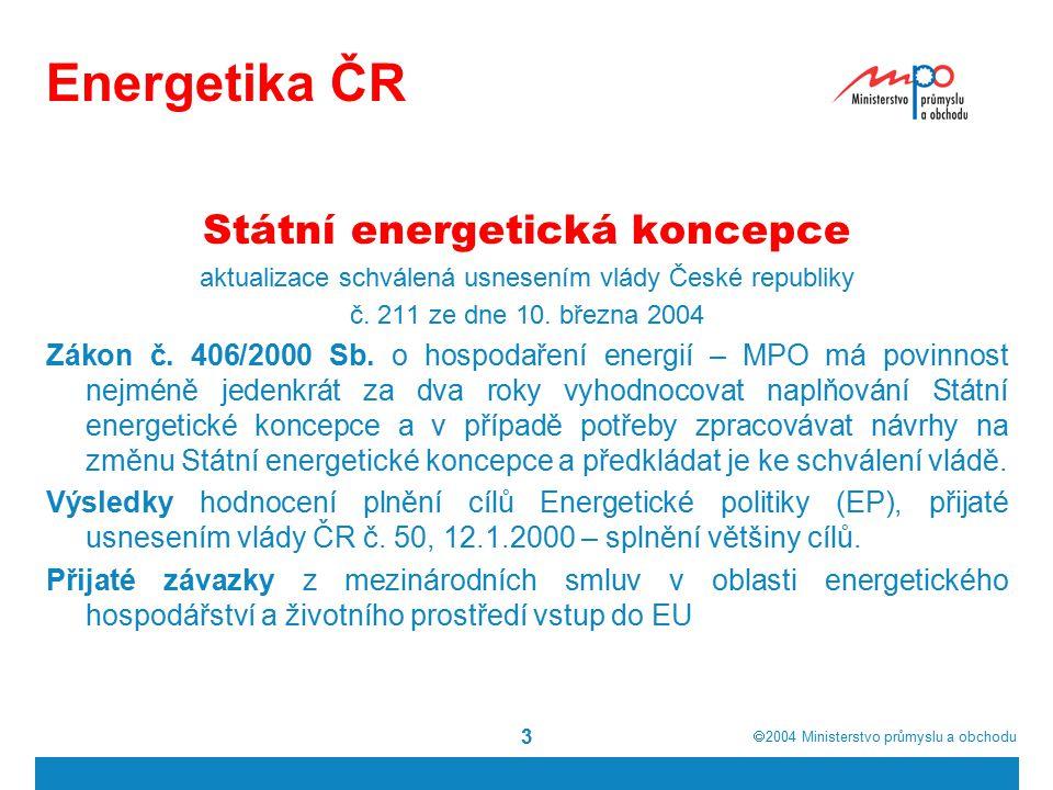  2004  Ministerstvo průmyslu a obchodu 3 Energetika ČR Státní energetická koncepce aktualizace schválená usnesením vlády České republiky č.