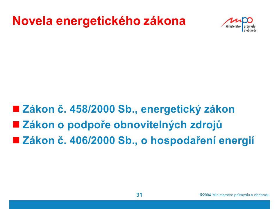 2004  Ministerstvo průmyslu a obchodu 31 Novela energetického zákona Zákon č.