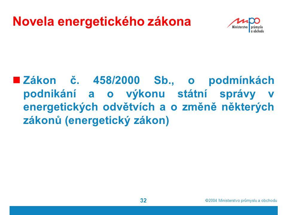  2004  Ministerstvo průmyslu a obchodu 32 Novela energetického zákona Zákon č.