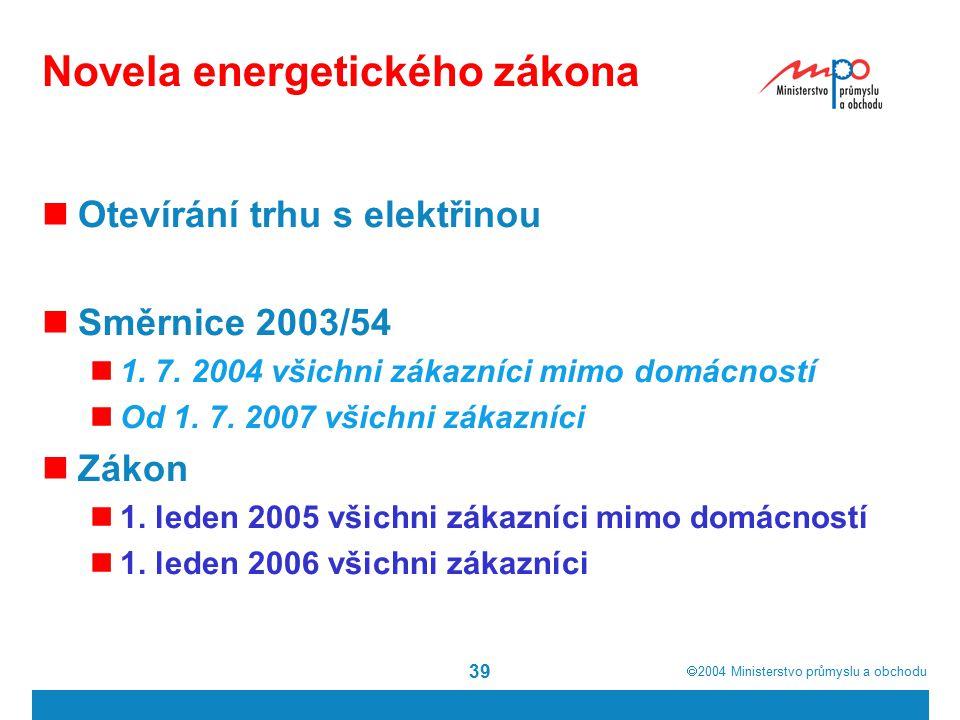  2004  Ministerstvo průmyslu a obchodu 39 Novela energetického zákona Otevírání trhu s elektřinou Směrnice 2003/54 1.